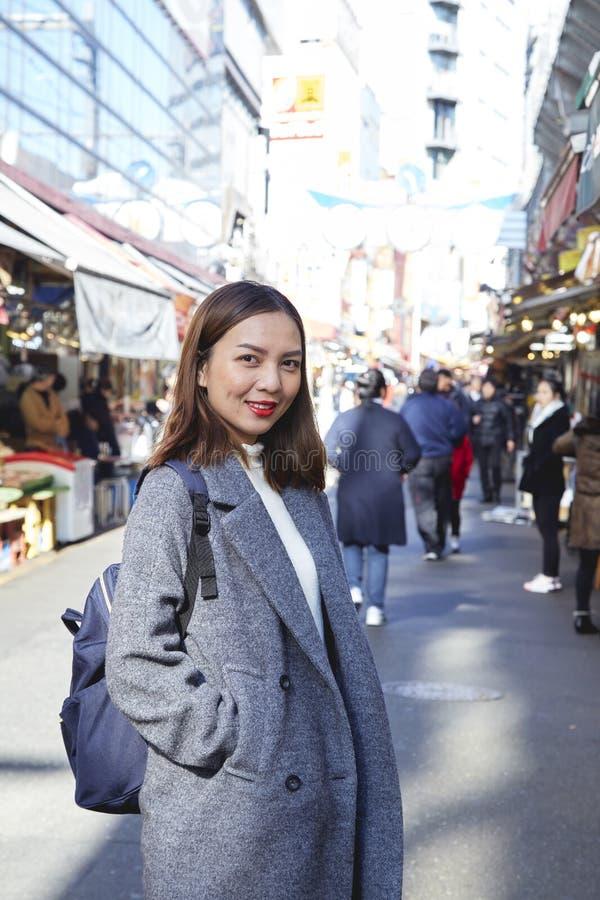 Portrait woman of a beautiful tourist stock images