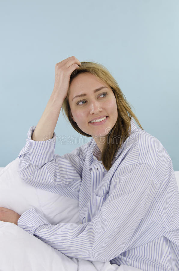 Download Portrait of a woman in bed stock image. Image of morning - 25103323