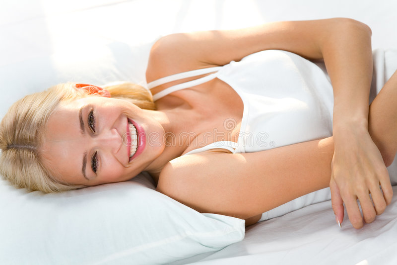 Portrait Of Woman On Bed Stock Image