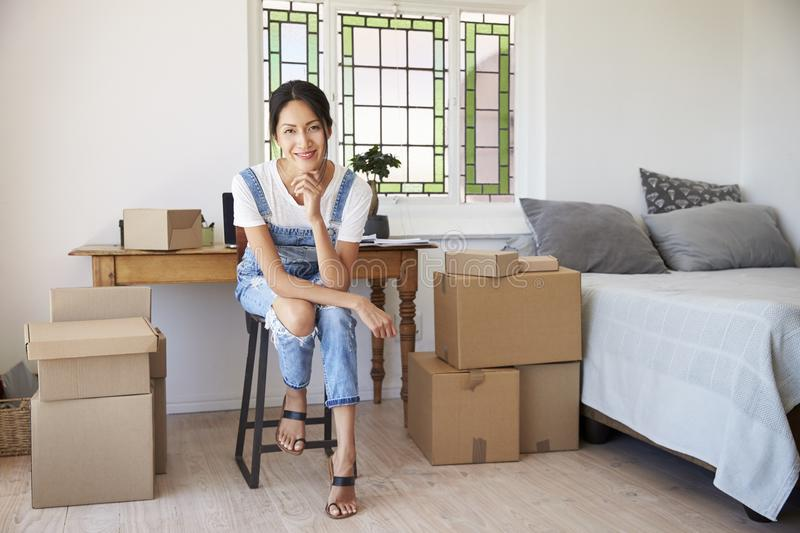 Portrait Of Woman In Bedroom Running Business From Home stock image