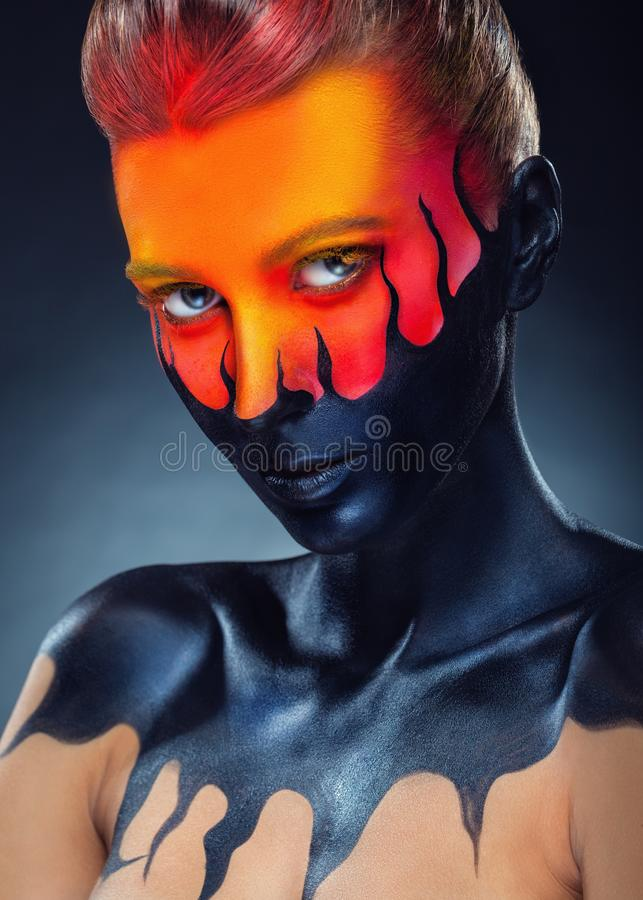 Black tongues of flame stock photography
