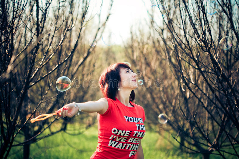 Portrait Of Woman With Bubbles Stock Images
