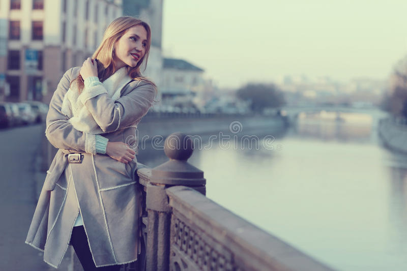 Portrait of a woman in the city royalty free stock photo