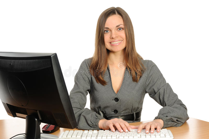 Portrait of the woman with a computer. royalty free stock photography