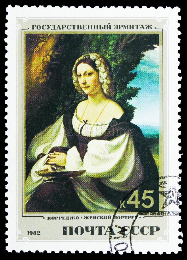 Portrait of a woman Correggio, Italian Paintings in Hermitage Museum serie, circa 1982. MOSCOW, RUSSIA - FEBRUARY 10, 2019: A stamp printed in Soviet Union shows royalty free stock images