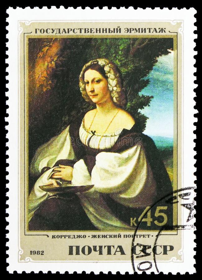 Portrait of a woman Correggio, Italian Paintings in Hermitage Museum serie, circa 1982. MOSCOW, RUSSIA - FEBRUARY 10, 2019: A stamp printed in Soviet Union shows stock photography
