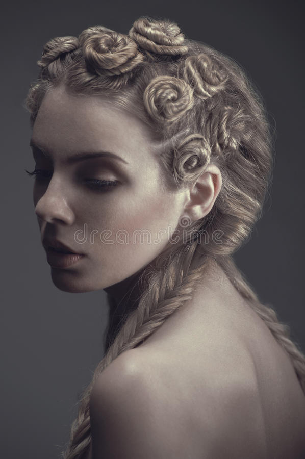Portrait of woman with creative hairstyle royalty free stock images