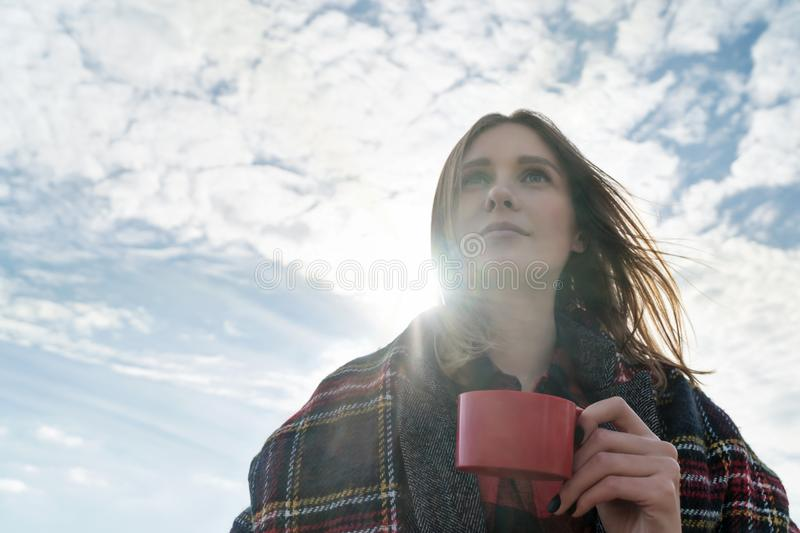 Portrait woman with a cup of tea royalty free stock images