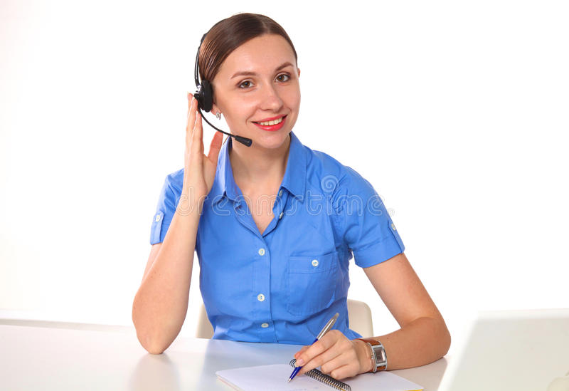 Portrait of woman customer service worker, call center smiling operator with phone headset isolated on white background royalty free stock photo