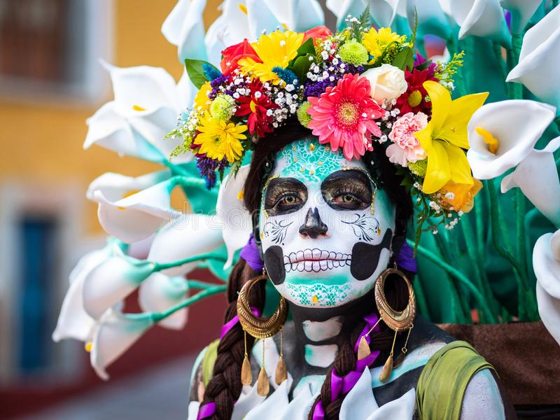 Portrait of a Woman with Day of the Dead Costumes and Skull Makeup, Guanajuato, Mexico. Portrait of a woman with beautiful Day of the Dead themed costumes and stock photos