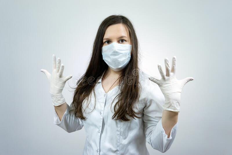 Portrait of woman doctor in quarantine in hospital, coronavirus concept.  royalty free stock photo