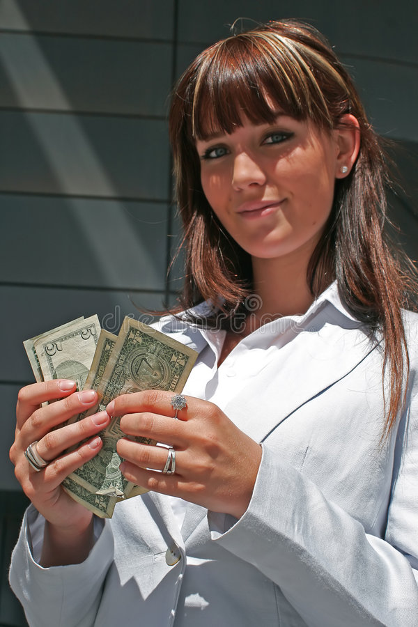 Portrait of woman with dollars royalty free stock images