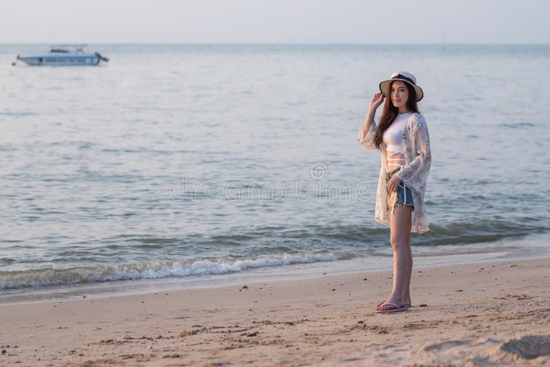 Portrait of woman enjoy on sea beach stock photos