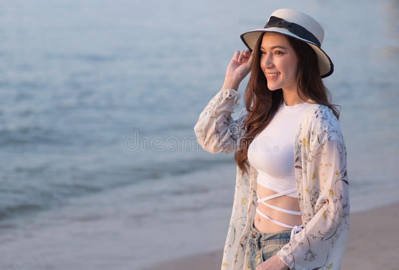 Portrait of woman enjoy on sea beach royalty free stock images