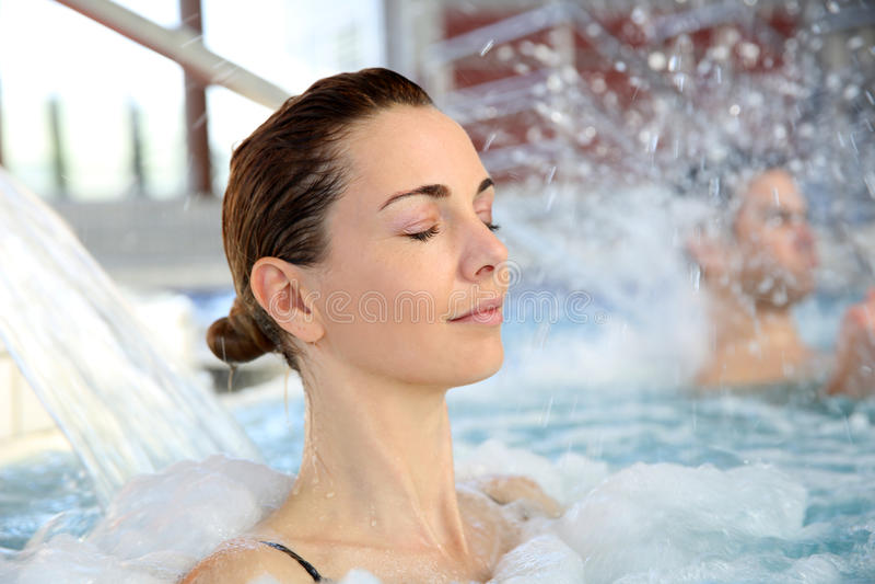 Portrait of woman enjoying spa stock image