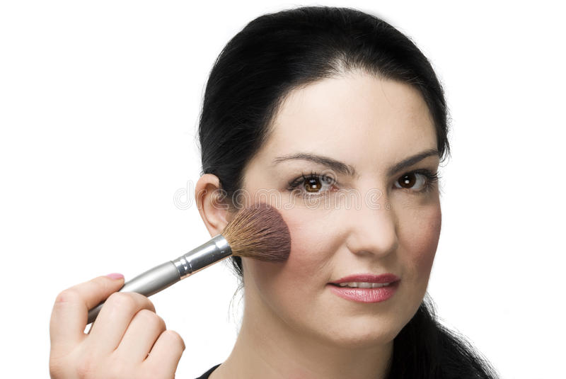 Portrait of woman face blushing stock photo