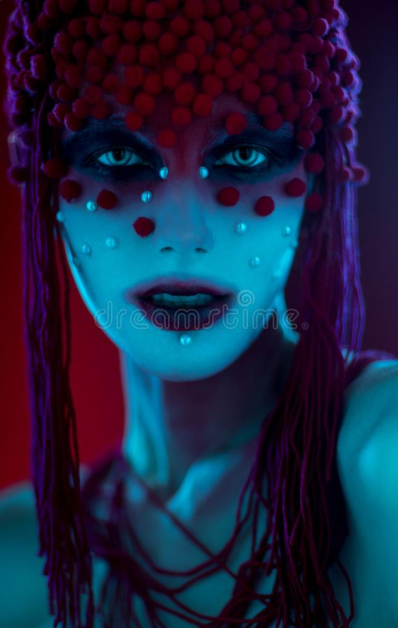 Portrait of woman with fantasy make up royalty free stock photography