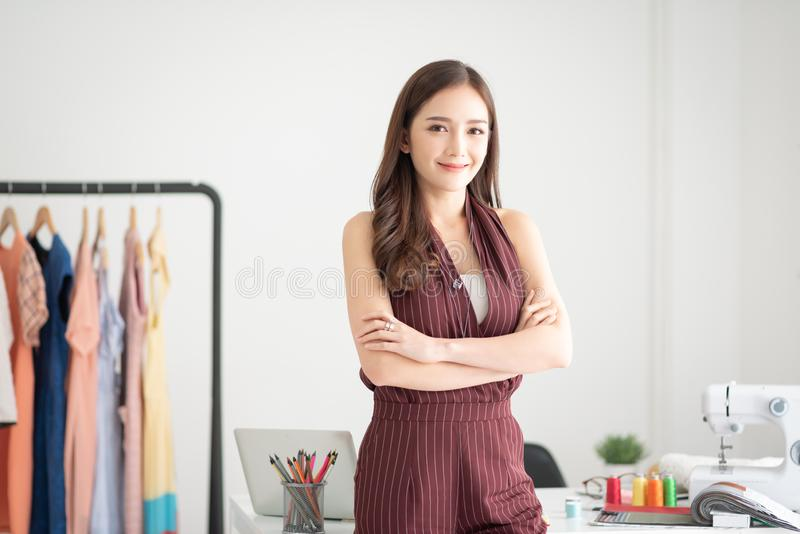 Portrait of woman fashion designer royalty free stock photo