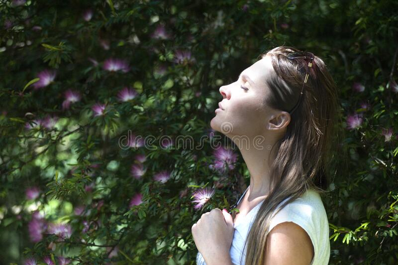 Portrait of woman in garden royalty free stock images