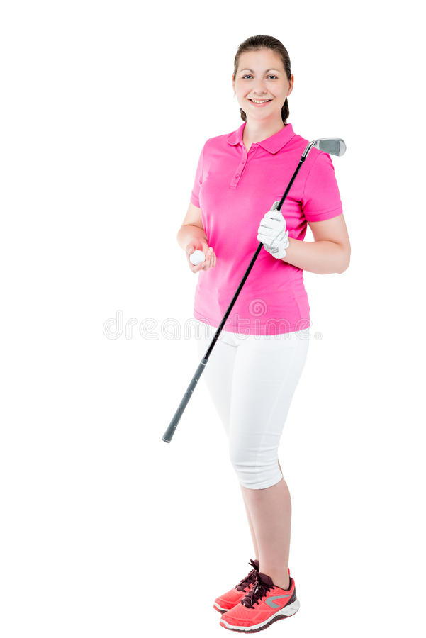 Portrait of a woman golfer in full length with the equipment. On a white background stock photos