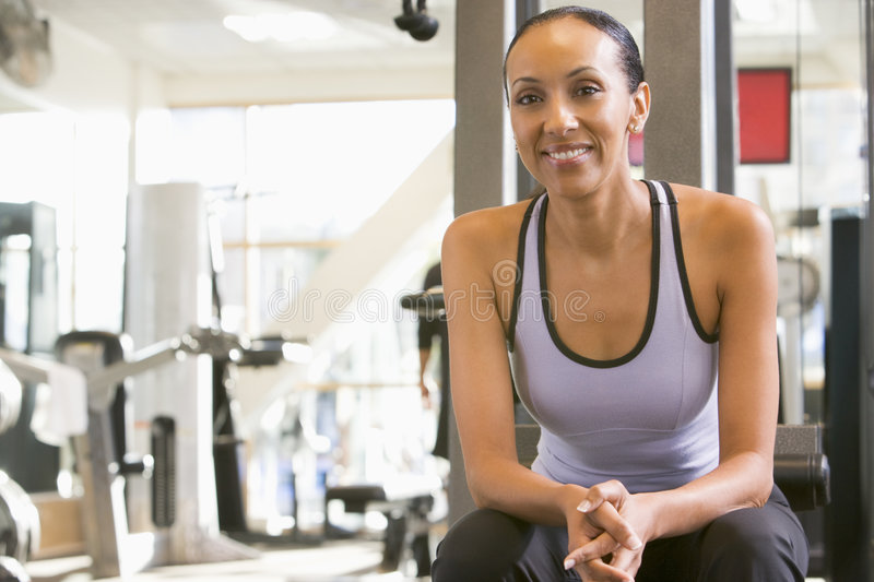 Portrait Of Woman At Gym stock photo