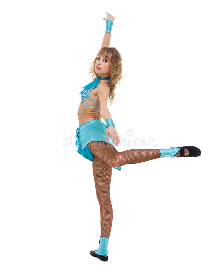 Portrait of woman gymnast, isolated on white. Portrait of cute woman gymnast, isolated on white in full length royalty free stock photos