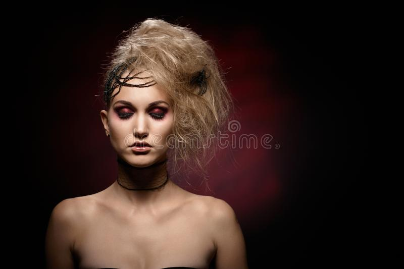 Portrait of woman in halloween makeup royalty free stock image