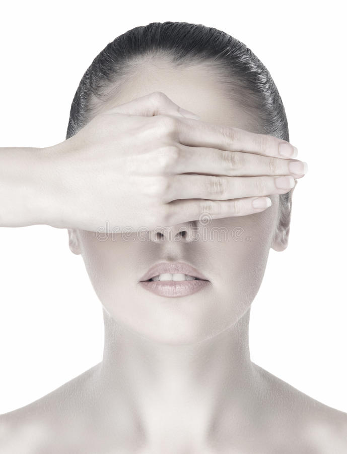Download Portrait Of A Woman Hiding Her Face With A Hand Stock Image - Image: 24452869
