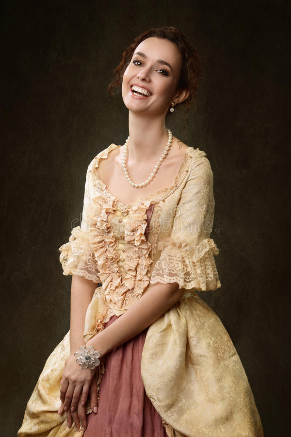 Portrait of woman in historical dress stock photos