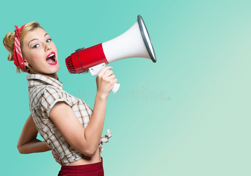 Portrait of woman holding megaphone, dressed in. Holding one old hold woman megaphone space stock image
