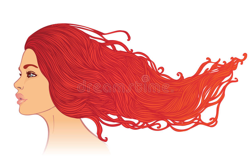 Portrait of woman with long beautiful red hair stock illustration