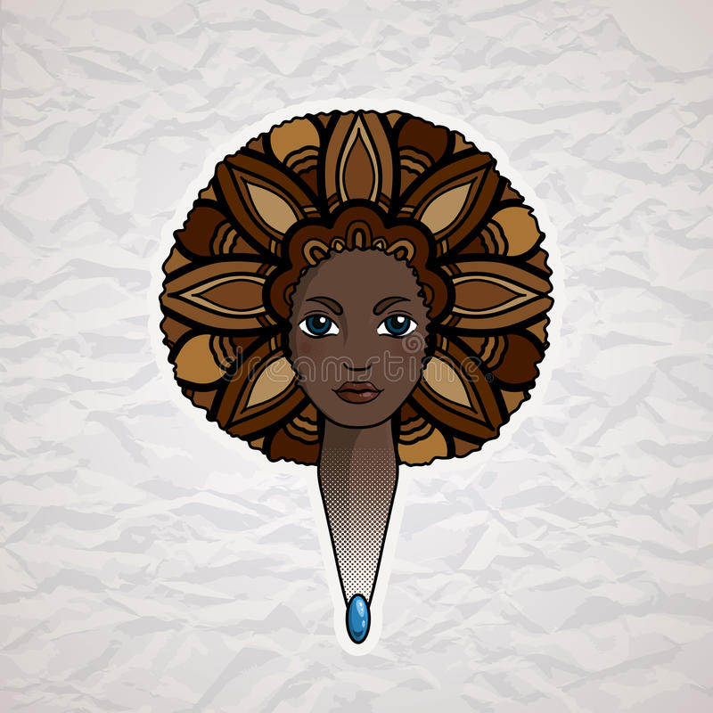 Portrait of a woman with luxuriant hair in the style of an African. Vector. royalty free illustration