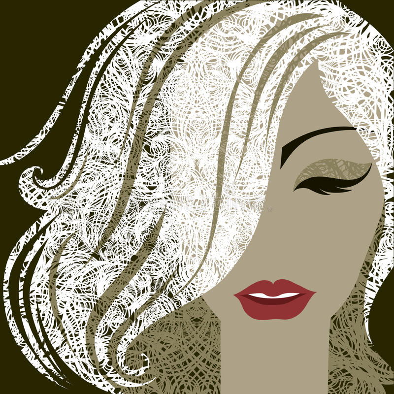 Portrait of woman with make-up and long hair stock illustration