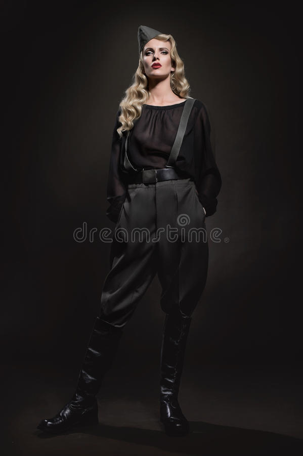 Portrait of woman in military clothes royalty free stock photography