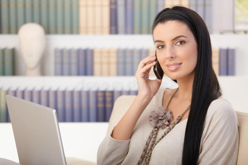 Portrait of woman on mobile call royalty free stock images