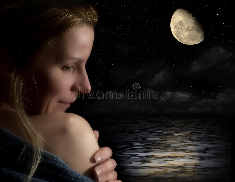 Download Portrait Of A Woman, By Moonlight Stock Photo - Image: 18846014