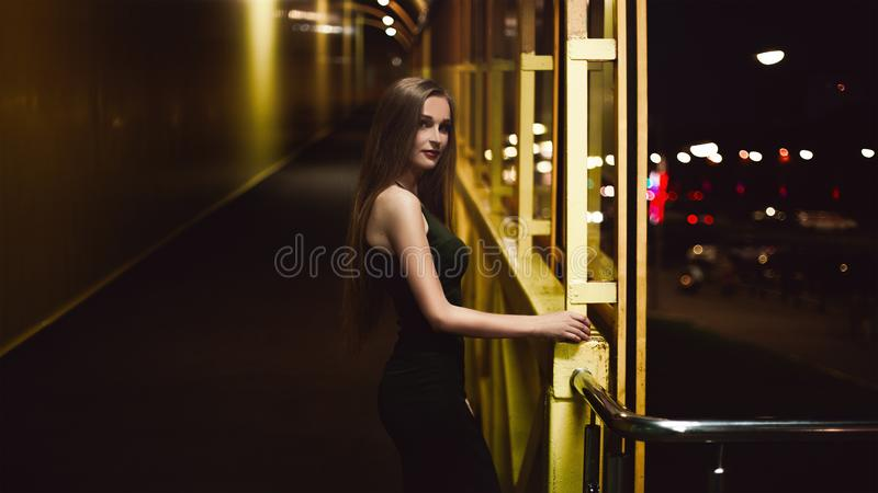 Portrait of woman at night royalty free stock photography