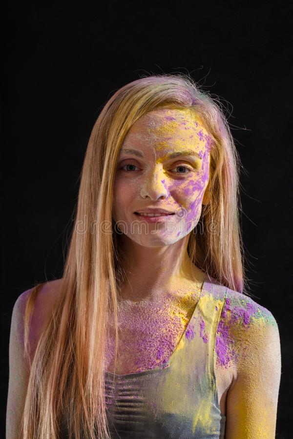 Portrait of a woman in paint stock photos