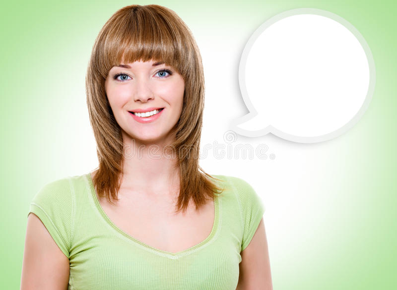 Portrait of the woman with a painted cloud note stock photo