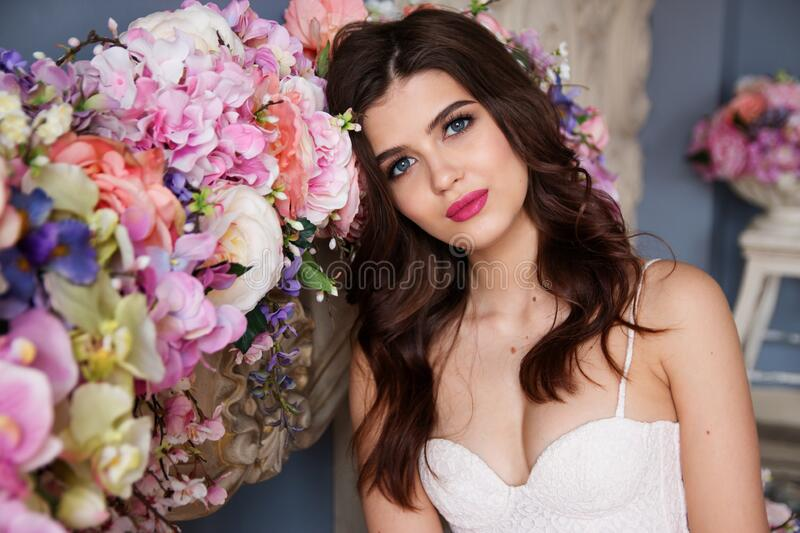 Portrait Of Woman With Pink Roses Free Public Domain Cc0 Image