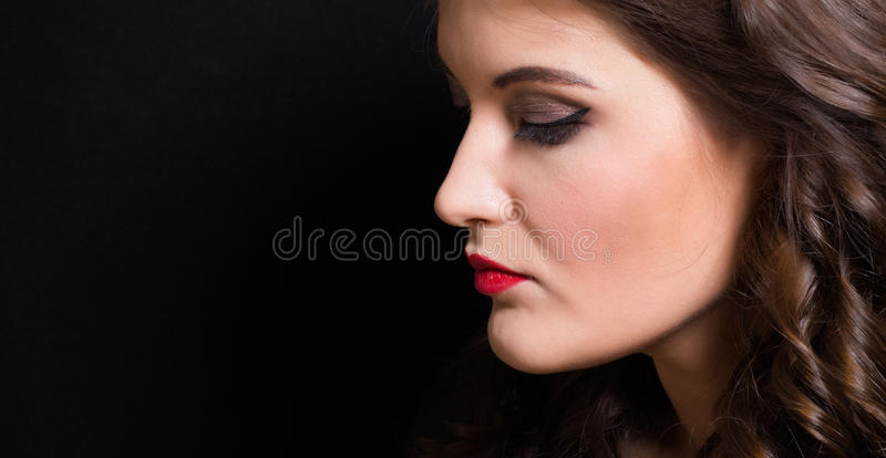 Portrait of a woman with red lipstick royalty free stock image