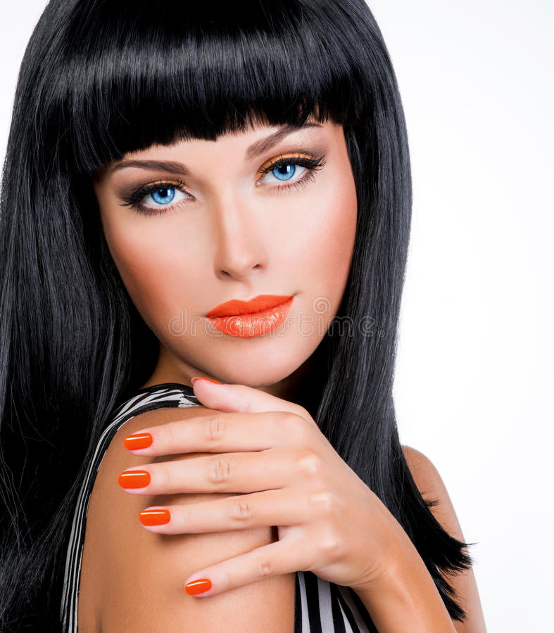 Portrait Of A Woman With Red Nails And Glamour Makeup Stock Photo - Image Of Nail Black 47442568