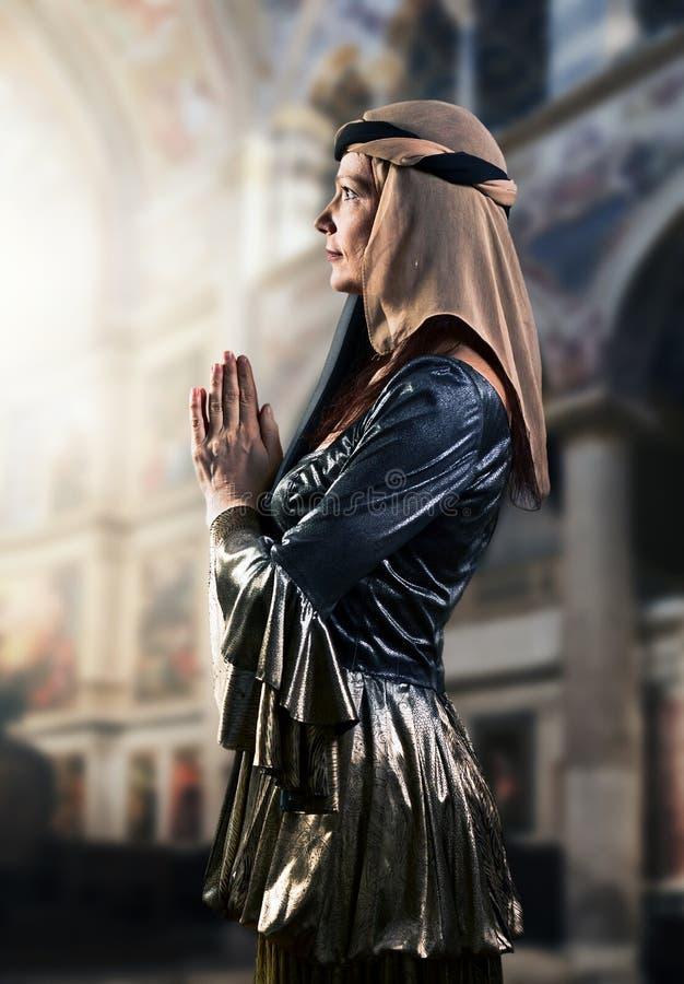Portrait of woman in Renaissance gown. Portrait of middle age woman in Renaissance gown stock photo