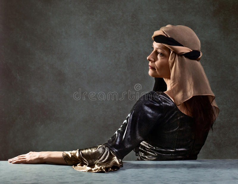 Portrait of woman in Renaissance gown. Portrait of middle age woman in Renaissance gown stock image