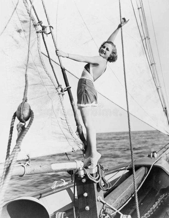 Portrait of woman on sailboat royalty free stock photos