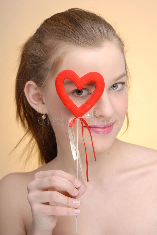 Download Portrait Of Woman With Saint Valentine's Heart Stock Image - Image: 13103243