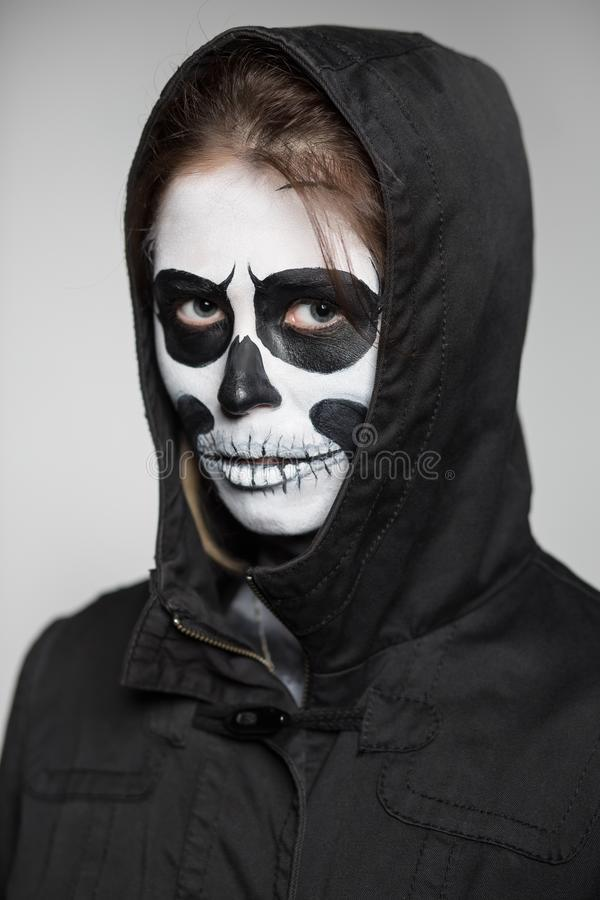 Portrait of woman with scary makeup stock photo