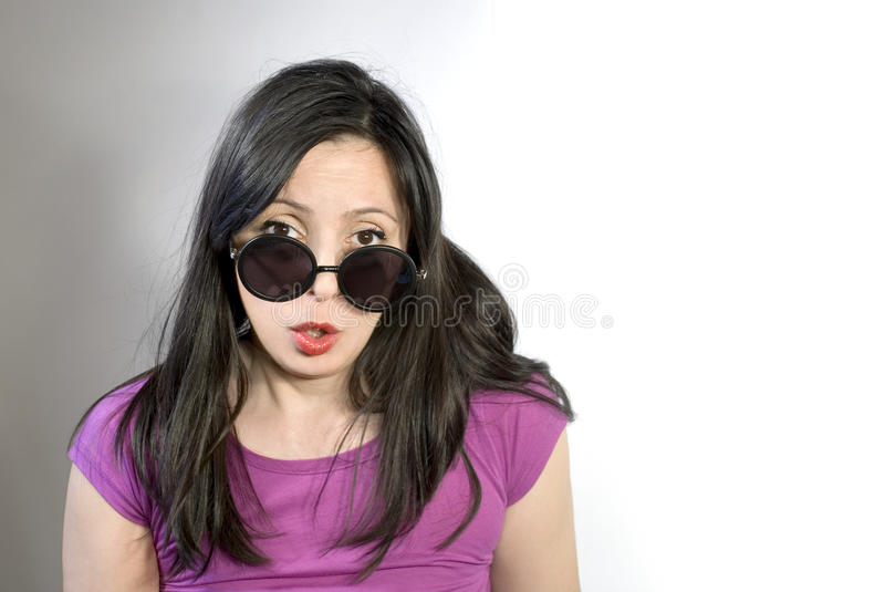 Portrait of woman with shades royalty free stock images