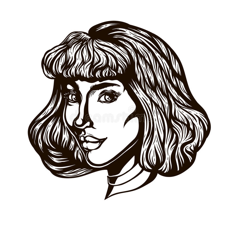 Portrait of woman in three-quarter view. Gothic style. Tattoo blackwork. Illustration vector illustration