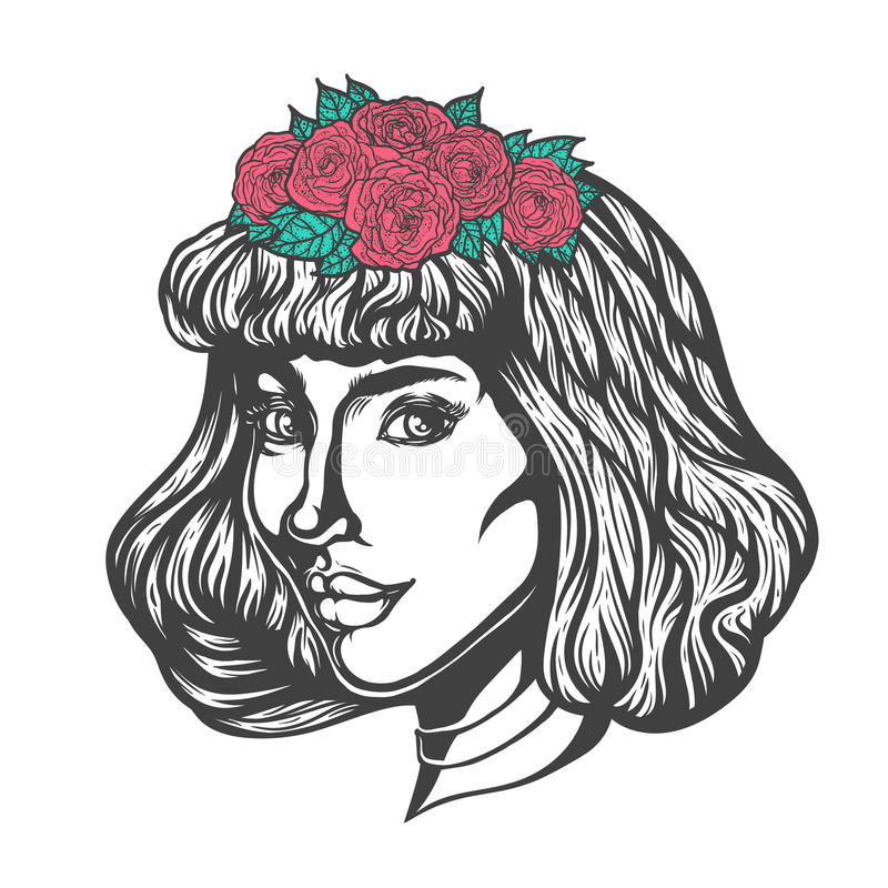Portrait of woman in three-quarter view. Gothic style. Tattoo blackwork. Illustration royalty free illustration